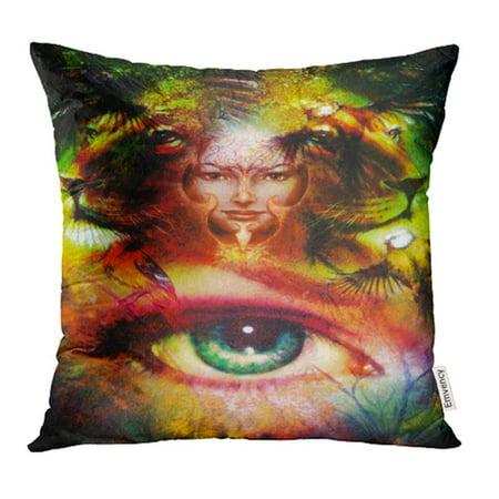 Phoenix Bird Tattoo (CMFUN Painting Mighty Lion Head Mystic Woman Face Bird Phoenix Tattoo Pillowcase Cushion Cases 18x18)