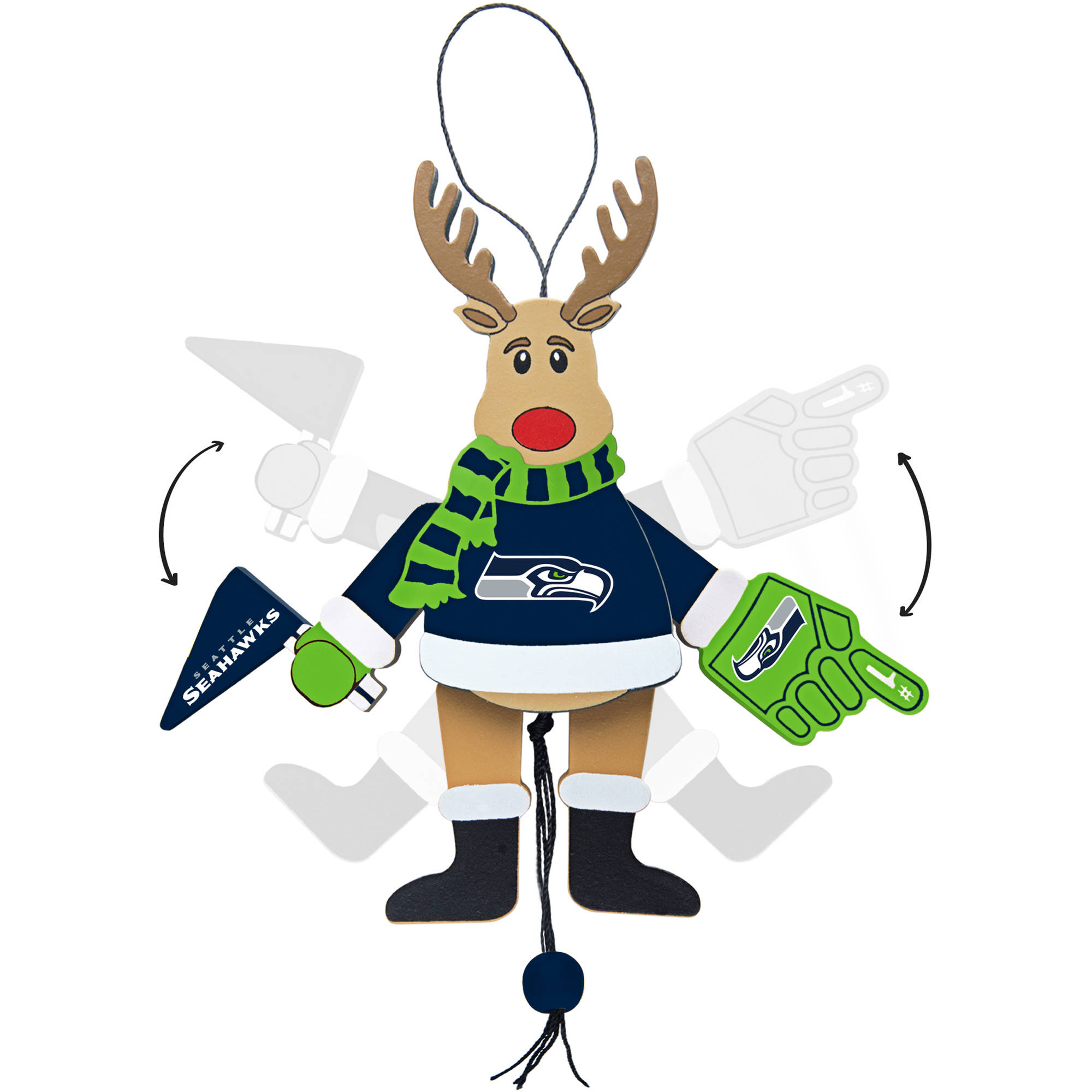 Topperscot by Boelter Brands NFL Wooden Cheering Reindeer Ornament, Seattle Seahawks