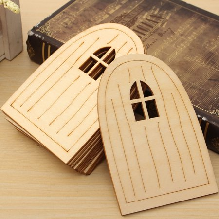 10pcs Wooden Fairy Pixie Door Blank Plaque Hanging Decoration Craft DIY Sign Set - image 6 of 8