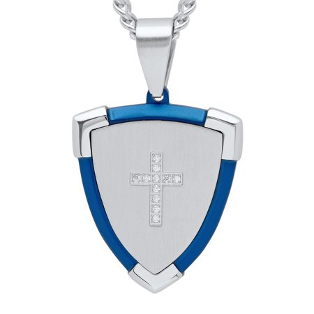 Men's Stainless Steel Two-Tone Cubic Zirconia Guardian Cross Shield Pendant Necklace Chain