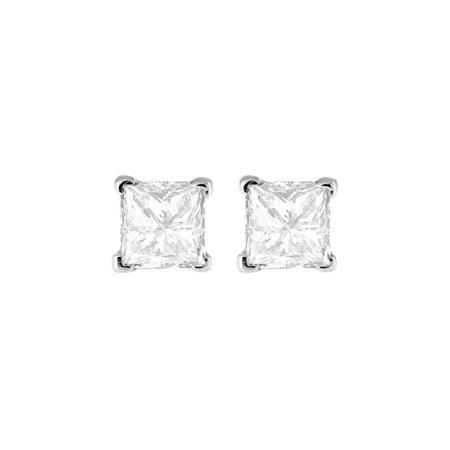 c31f74e61 iParis - 14K White Gold 3 Ct White Princess Cz Stud Earrings ...