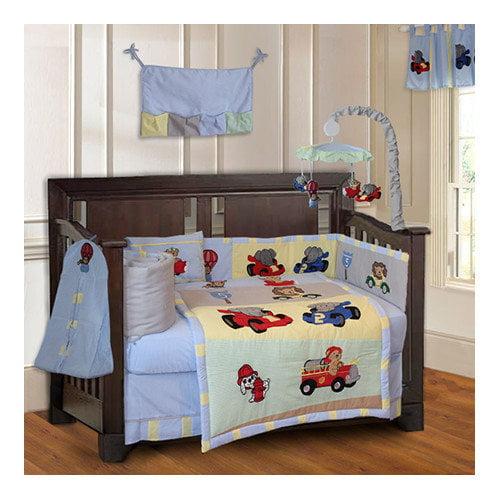 Babyfad Animal Zoom Car Racing Baby 10 Piece Crib Bedding Set