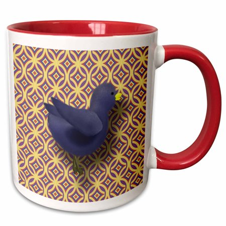 Gld Fat (3dRose Fat Blue Bird Purple and Gold Pattern Background - Two Tone Red Mug, 11-ounce )