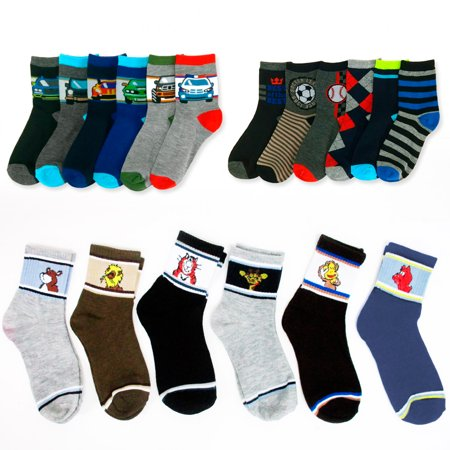 All Top Bargains 6 Pairs Assorted Boys Socks Size Ages 6-8 Years Kids Casual Sport Youth New !