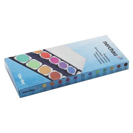 LUKAS Aquarell Studio Watercolor Paint Set Nerchau Professional High Quality High Pigment Lightfast German Studio Concentrated Watercolor Paint Set – [Opaque Set of 12 Assorted Round Pans]