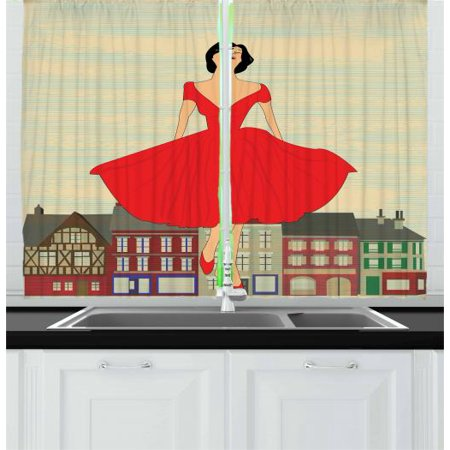 Vintage Woman Curtains 2 Panels Set, 1950's Style Girl in Red Dress in Front of a Traditional Street Background, Window Drapes for Living Room Bedroom, 55W X 39L Inches, Multicolor,