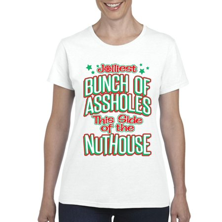 christmas t shirt jolliest this side of the nut house ugly xmas sweater womens