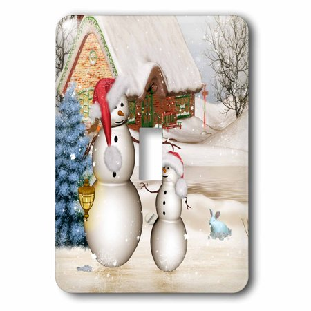3dRose Funny snowman with Christmas hat - Single Toggle Switch