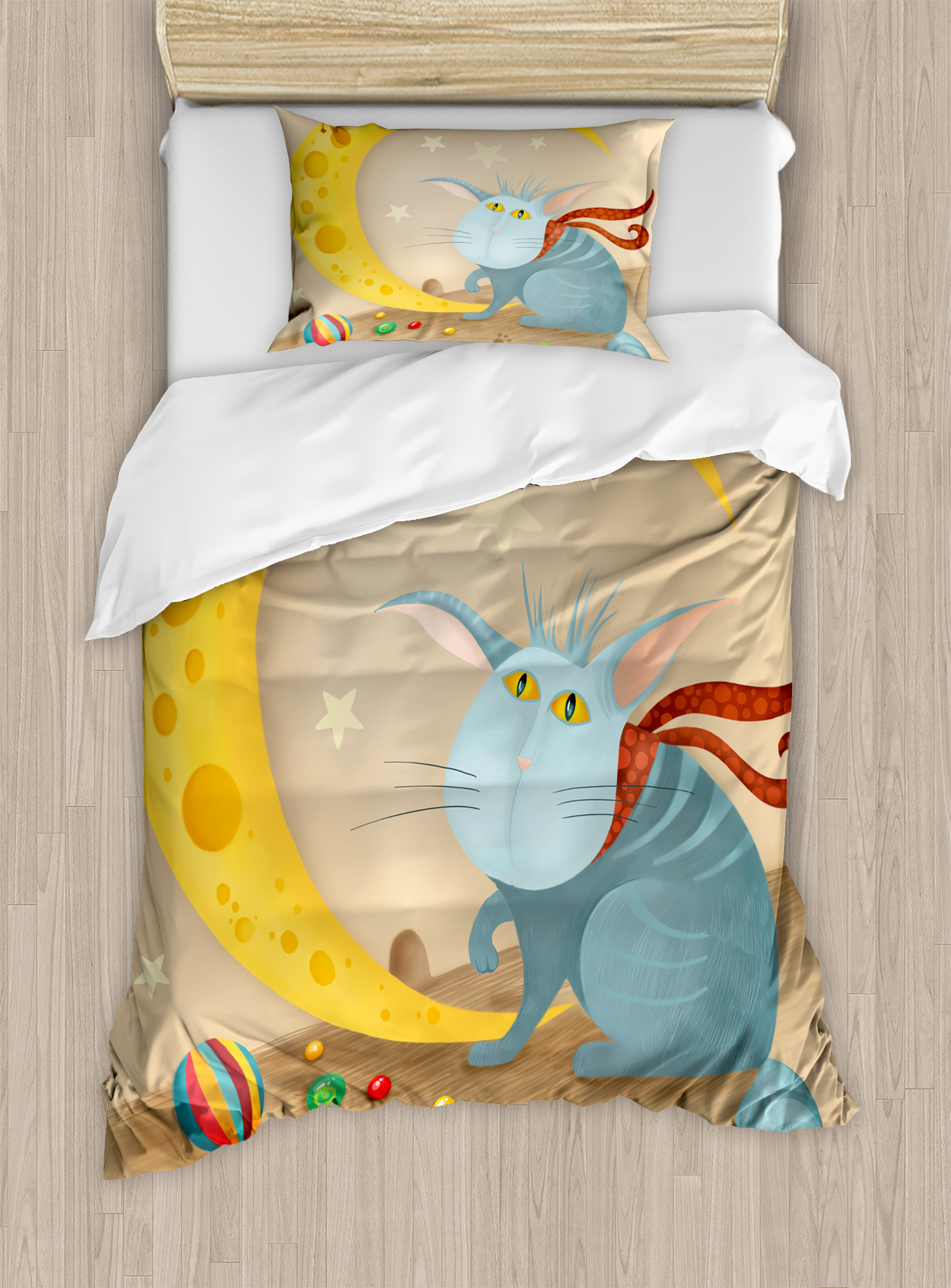 Ambesonne Kids Cat and Mouse on Crescent Moon Shaped Cheese Cute Paws Toys Kids Children... by Kozmos