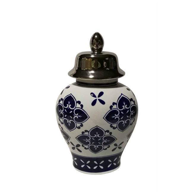 Benzara BM163319 Traditional Ceramic Covered Temple Jar, Blue & White - image 1 de 1
