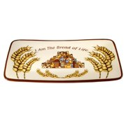 "Challat Plate-I Am Bread Of Life-Ceramic (16"" x 8.5"")"