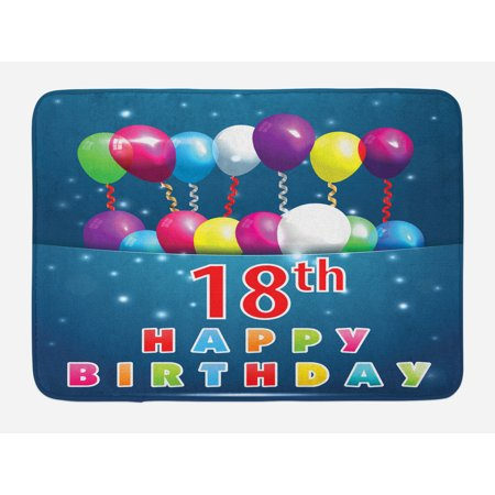 18th Birthday Bath Mat, Party Time with Colorful Flying Balloons on Star Like Backdrop Happiness, Non-Slip Plush Mat Bathroom Kitchen Laundry Room Decor, 29.5 X 17.5 Inches, Blue and White, Ambesonne