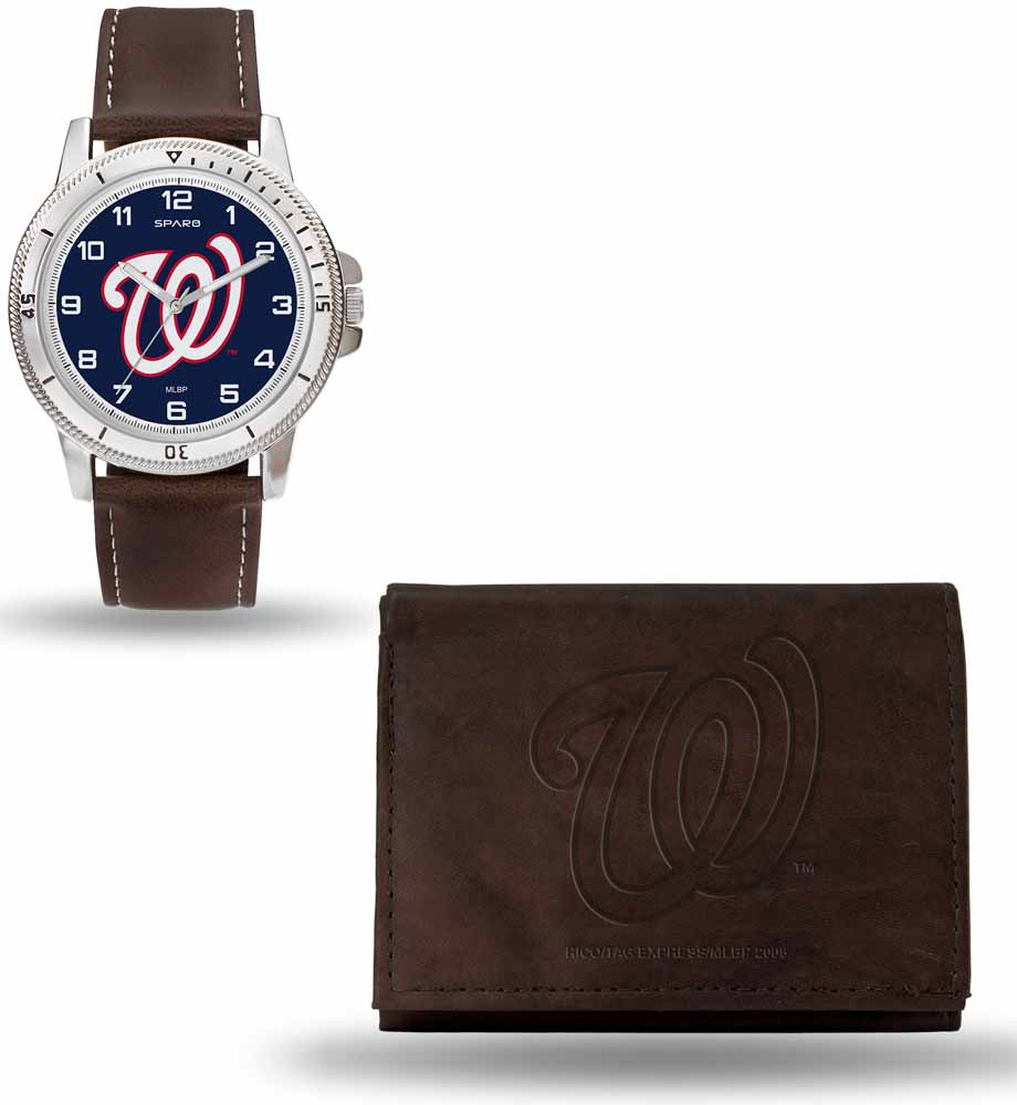 Washington Nationals Brown Watch and Wallet Gift Set