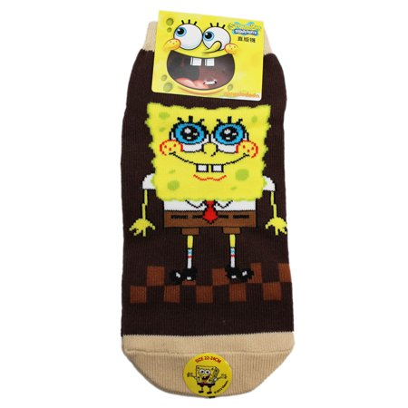 Spongebob Squarepants Big-Eyed Smile Brown/Tan Socks (1 Pair, 22-24cm) (Spongebob Tan Scale)