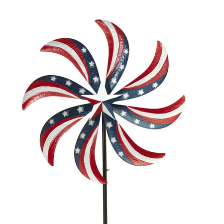 Gerson 63-Inch Tall Metal Patriotic Yard Stake with Wind Spinner