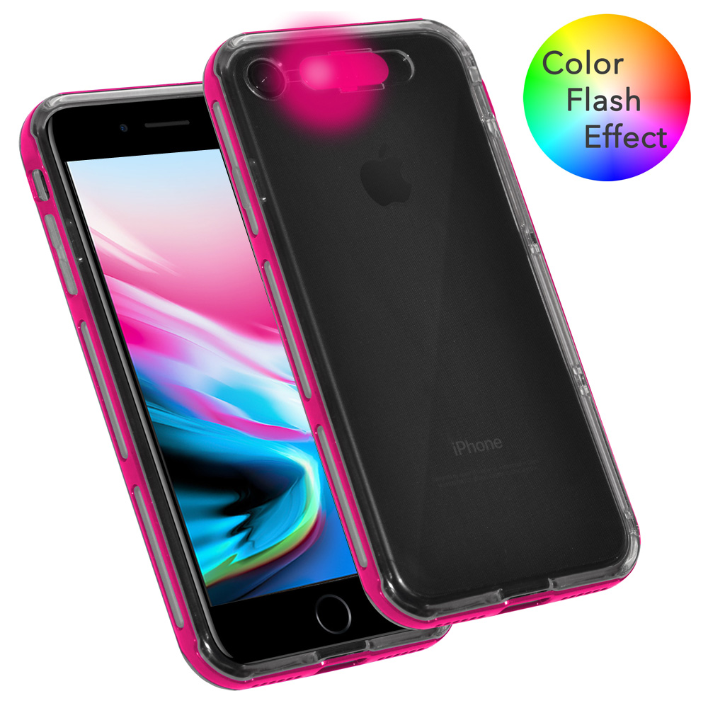 iPhone 8 Case, Dual Layer Slim Protective Bumper Cover Clear Back Case with Color Flash Effect for iPhone 8 - Clear/ Pink
