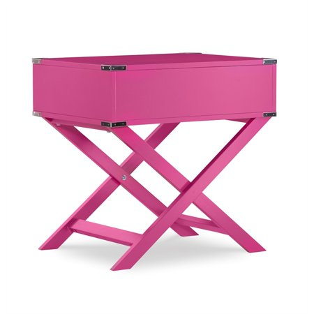 Linon Peggy X Base Wood Accent Table in Pink - image 11 de 11
