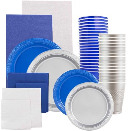 Graduation Plates And Napkins (JAM Paper Party Supply Assortment, Blue & Silver Grad Pack, Plates (2 Sizes), Napkins (2 Sizes), Cups & Tablecloths,)