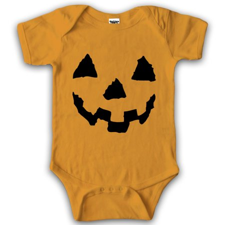 Crazy Dog Tshirts   Baby Pumpkin Face Halloween Jackolantern Bodysuit Creeper For Infants