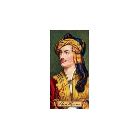 Antique Cigarette Cards (Lord Byron, taken from a series of cigarette cards, 1935. Artist: Unknown Print Wall Art )
