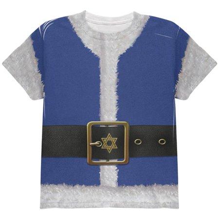 Christmas Hanukkah Jewish Santa Claus Costume All Over Youth T Shirt - Jewish Costume