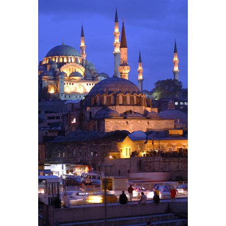 Framed Art for Your Wall The Minarets Istanbul Emin├╖n? Night Cami 10x13 Frame