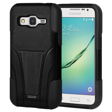 Samsung GALAXY Core Prime G360 Slim Fit Protective Dual Layer Shockproof Hybrid Soft Rubber Silicone Skin Cover Hard Case - Black Black Silicone Soft Rubber