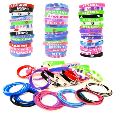 144 Bracelets Party Favors for Kids Boys Girls - Bulk Silicone Wristbands and Silicone Latex Free Jelly Bracelets free Assortment - Custom Jelly Bracelets