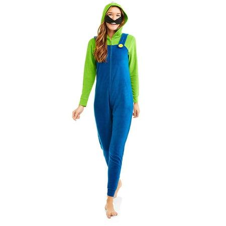 super mario luigi women's license sleepwear adult costume union - Mario And Luigi Costume Women