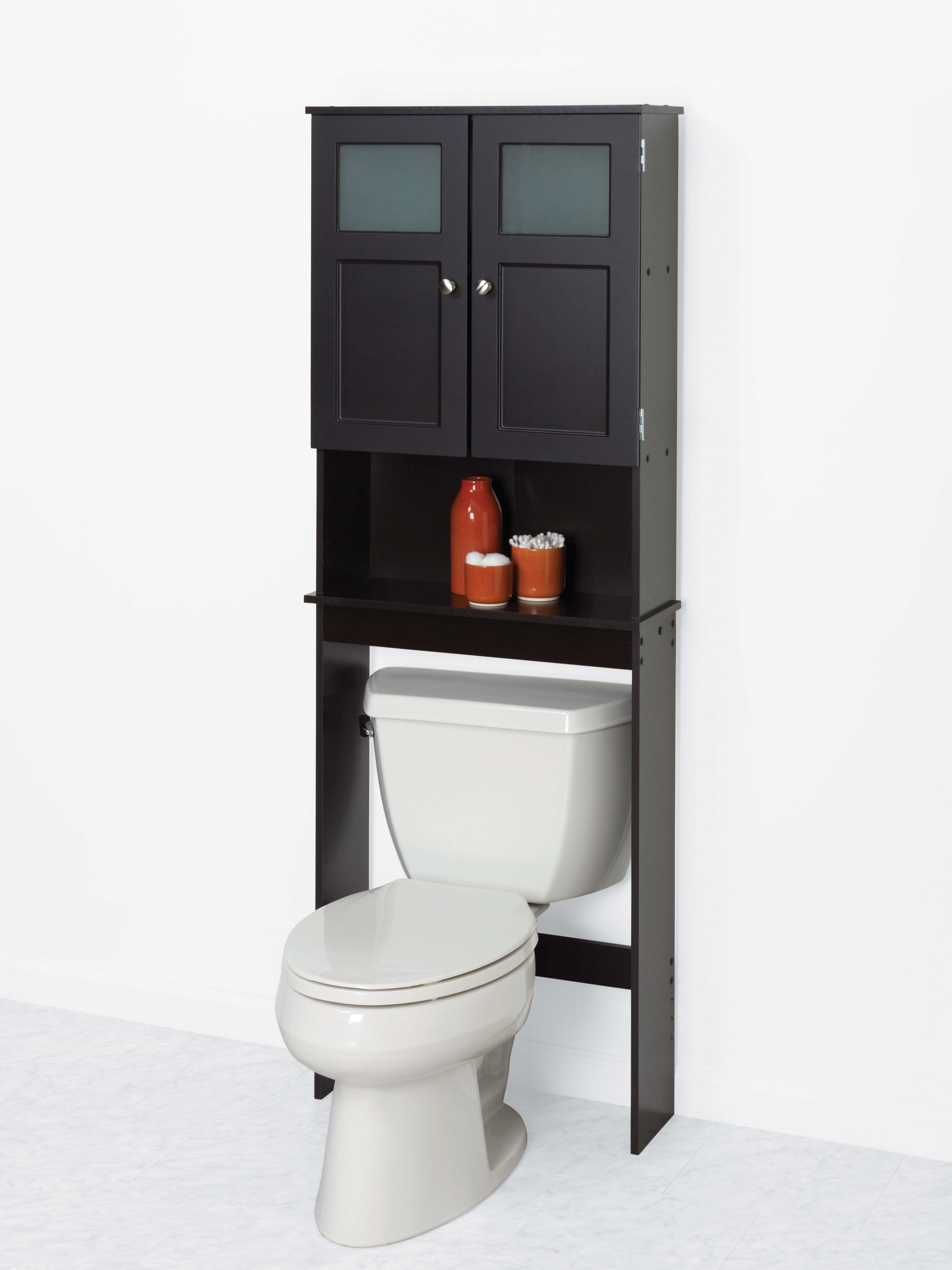 Zenna Home Over-the-Toilet Bathroom Spacesaver with Glass Windows ...