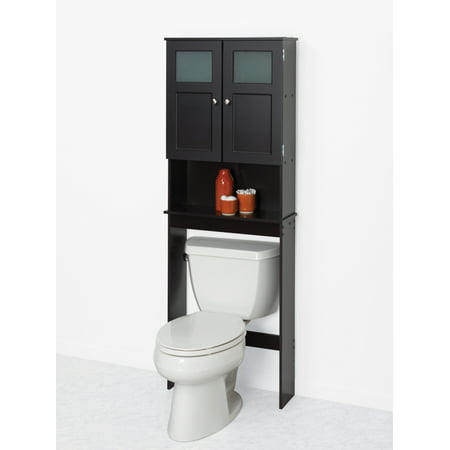 Zenna Home Over-the-Toilet Bathroom Spacesaver with Glass Windows, Espresso