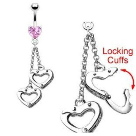 Belly Button Ring Navel Heart Handcuffs Body Jewelry 14 Gauge 3/8
