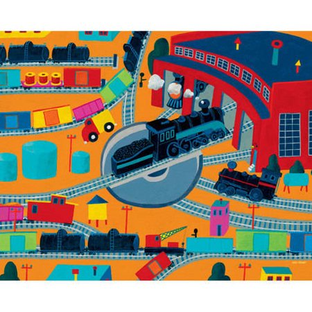 Oopsy Daisy - Train Roundhouse Canvas Wall Art 30x24, Max Grover