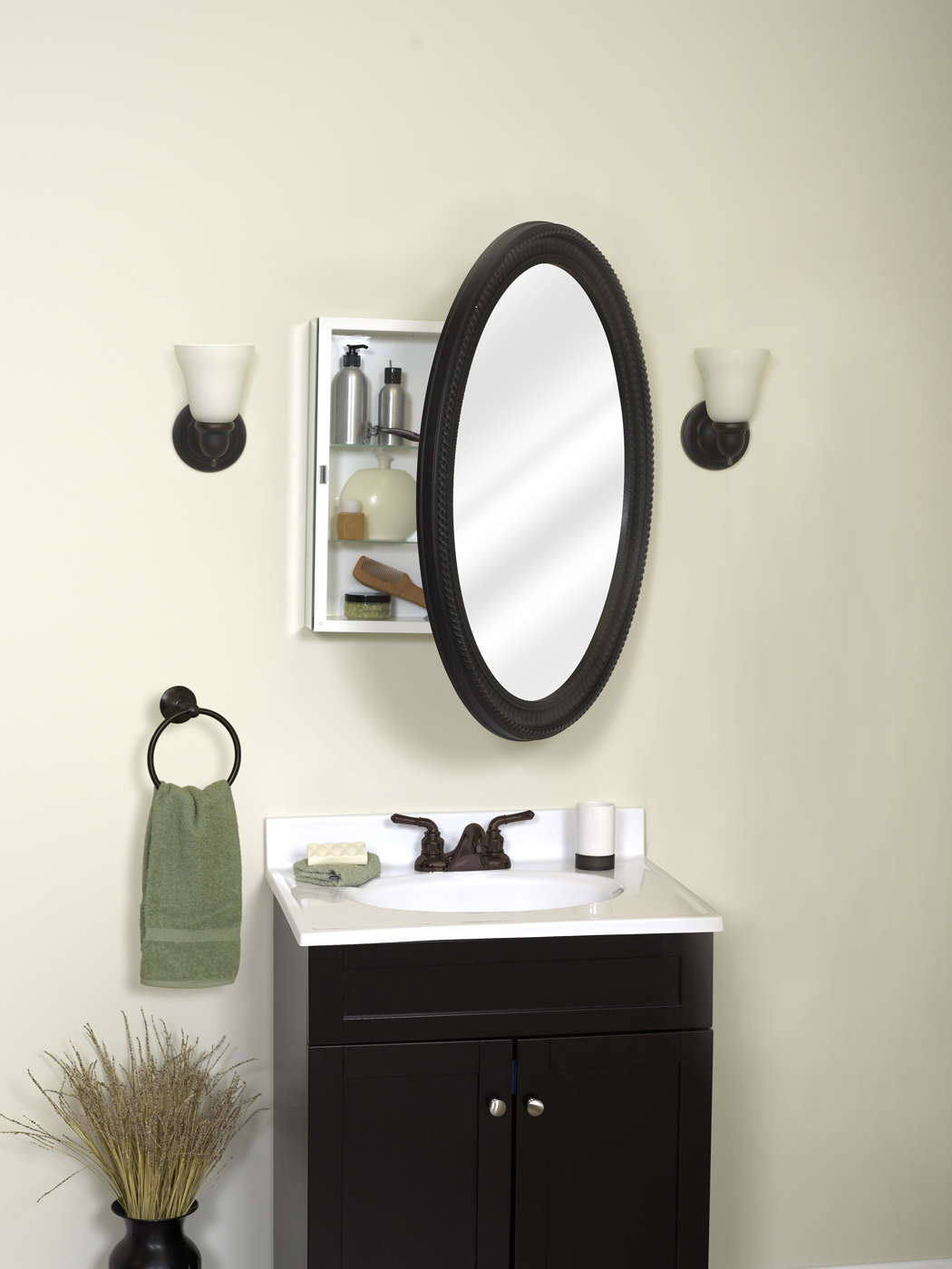 Picture of: Zenith Oval Medicine Cabinet With Poly Frame Oil Rubbed Bronze Walmart Com Walmart Com