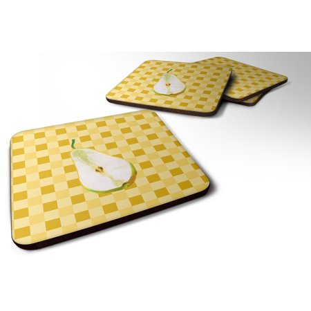 Set of 4 Sliced Pear on Basketweave Foam Coasters Set of 4 BB7244FC