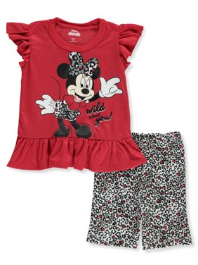 Disney Minnie Mouse Girls' Wild about You 2-Piece Bike Shorts Set Outfit