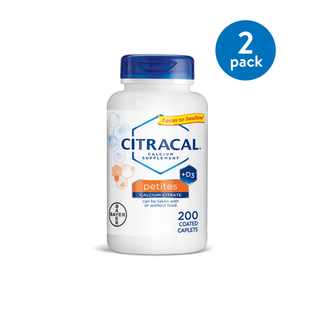 Calcium Citrate 100 Tabs ((2 Pack) Citracal Petites Calcium Citrate With Vitamin D3, Caplets, 200)