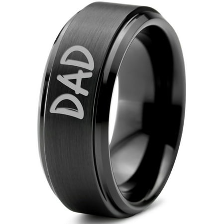 Tungsten Dad Typography Writing Band Ring 8mm Men Women Comfort Fit Black Step Bevel Edge Brushed Gray Polished