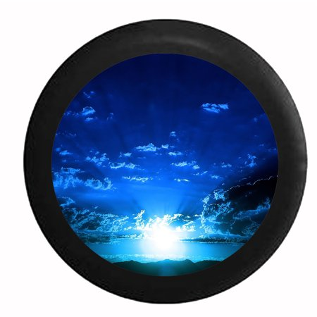 Jeep Spare Tire Cover - Blue Sky and Clouds Sunrise Sunset Beaming Light Jeep RV Camper Spare Tire Cover Black 27.5 in