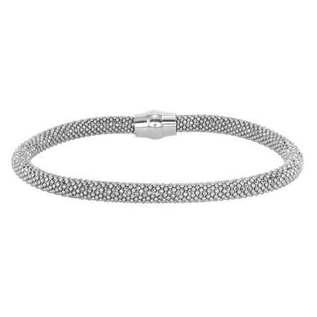 925 Sterling Silver 5 mm Round mesh bracelet magnet closure BRMESH025MM-S