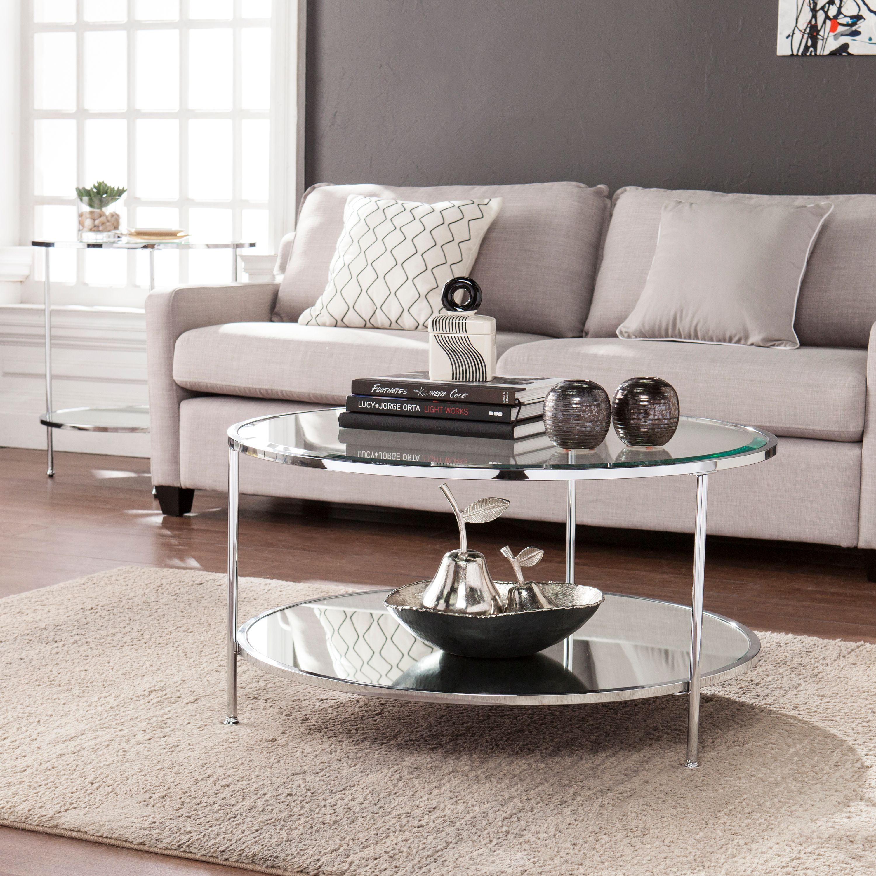 Southern Enterprises Rambix Cocktail Table, Glam Style, Chrome