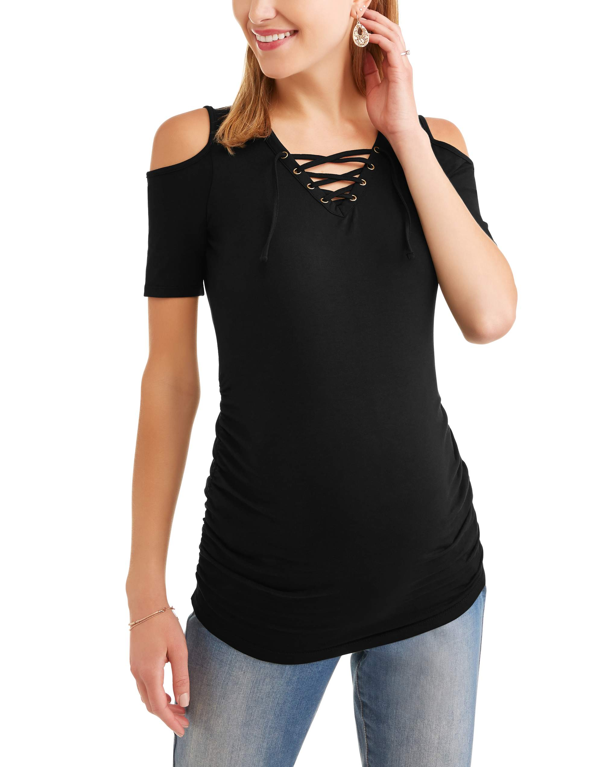 Maternity Short Sleeve Lace-Up Front Top, Available in Plus Sizes