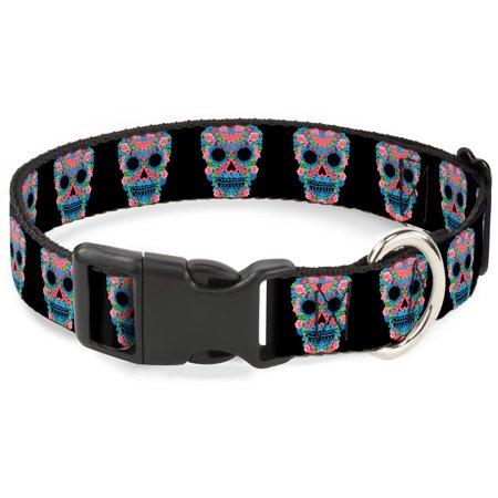 6808d862fb1f Plastic Clip Collar - Wonder Woman Floral Skull Black Multi Pastel - Large  Pet Collar 1.0