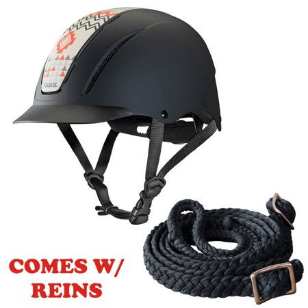 Sml Troxel Full Coverage Optimal Horse Riding Helmet Crimson Aztec W/ Reins