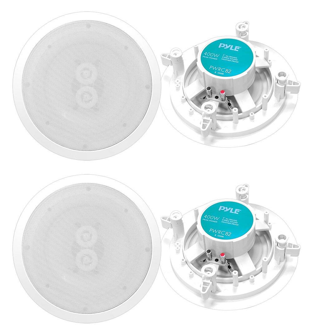 """4 New PYLE PWRC82 400W 8"""" 1600W 2 Way Indoor/Outdoor Waterproof Ceiling Speakers"""