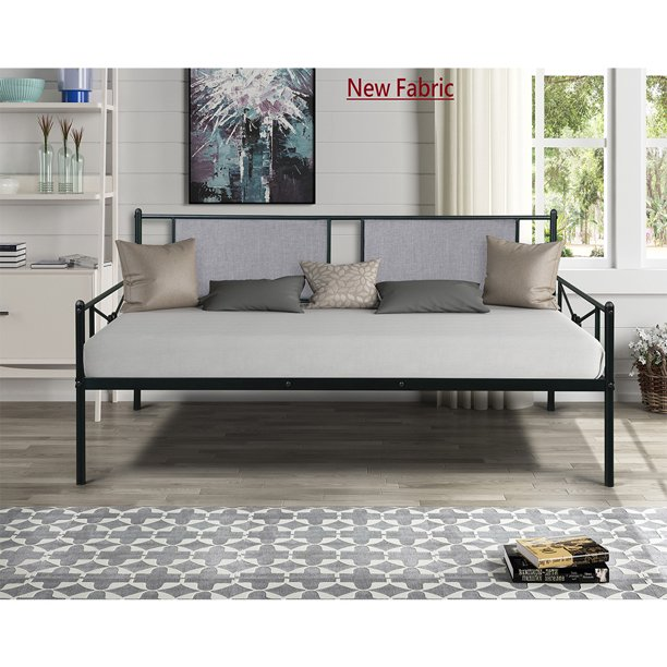 Twin Daybed, Multi-Purpose DayBed with Upholstered Sideboard, Steel Daybed/Sofa Bed, Premium Steel Slat Support, Twin Size Platform Bed Fram for Living Room Guest Room Kids Room, B2165