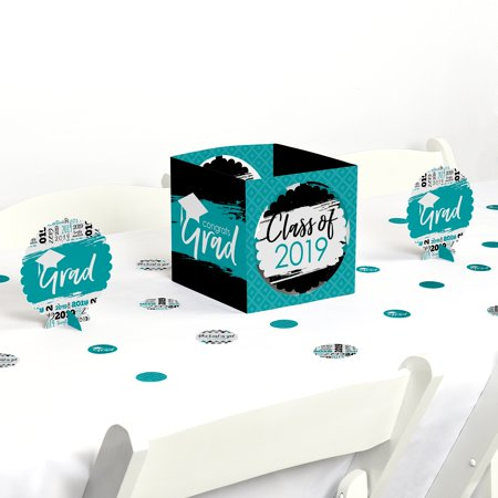 Homemade Graduation Centerpieces (Teal Grad - Best is Yet to Come - Turquoise 2019 Graduation Party Centerpiece & Table Decoration)