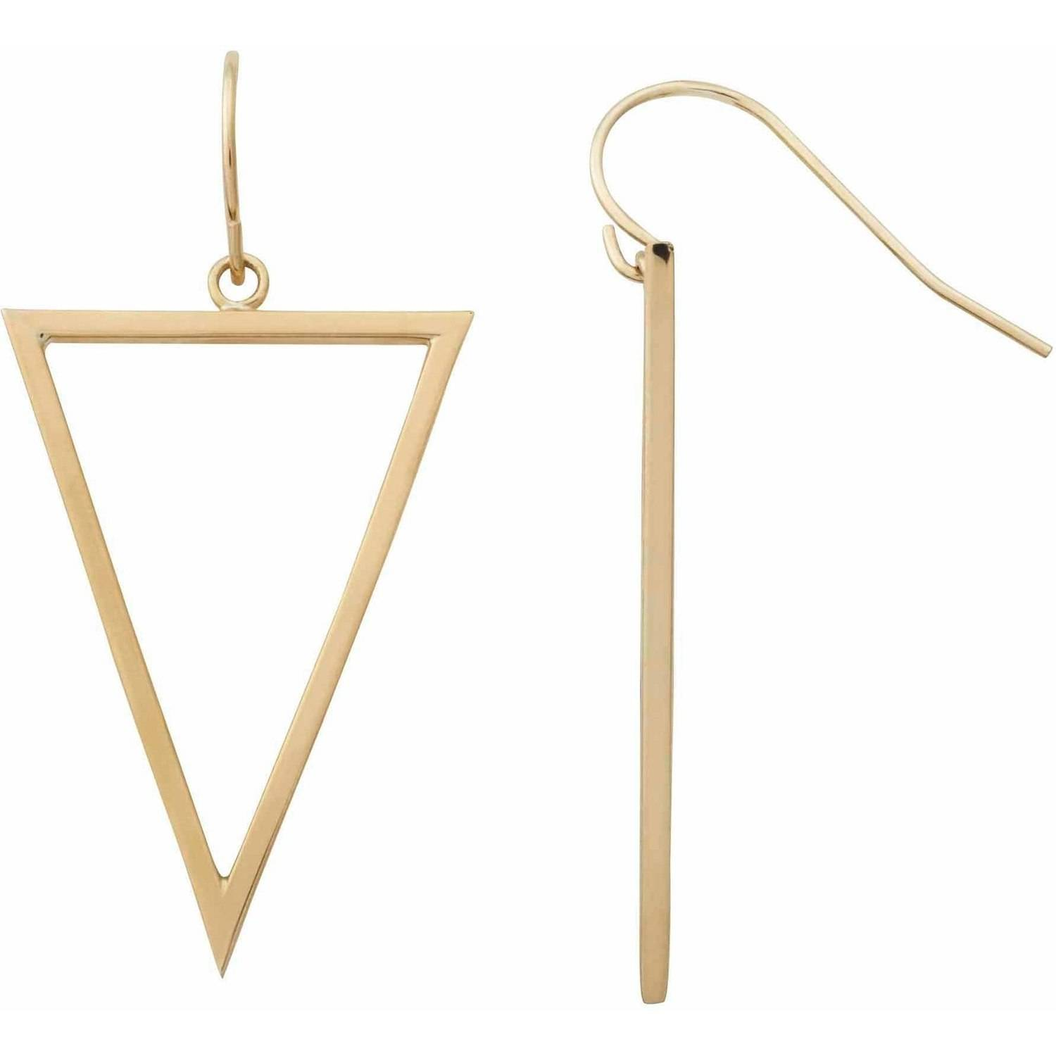 Simply Gold 10kt Yellow Gold Inverted Triangle Dangle Earrings