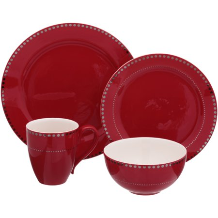 Mainstays 16-Piece Gold Dotted Ceramic Dinnerware Set Only $14.99 **Red or White**