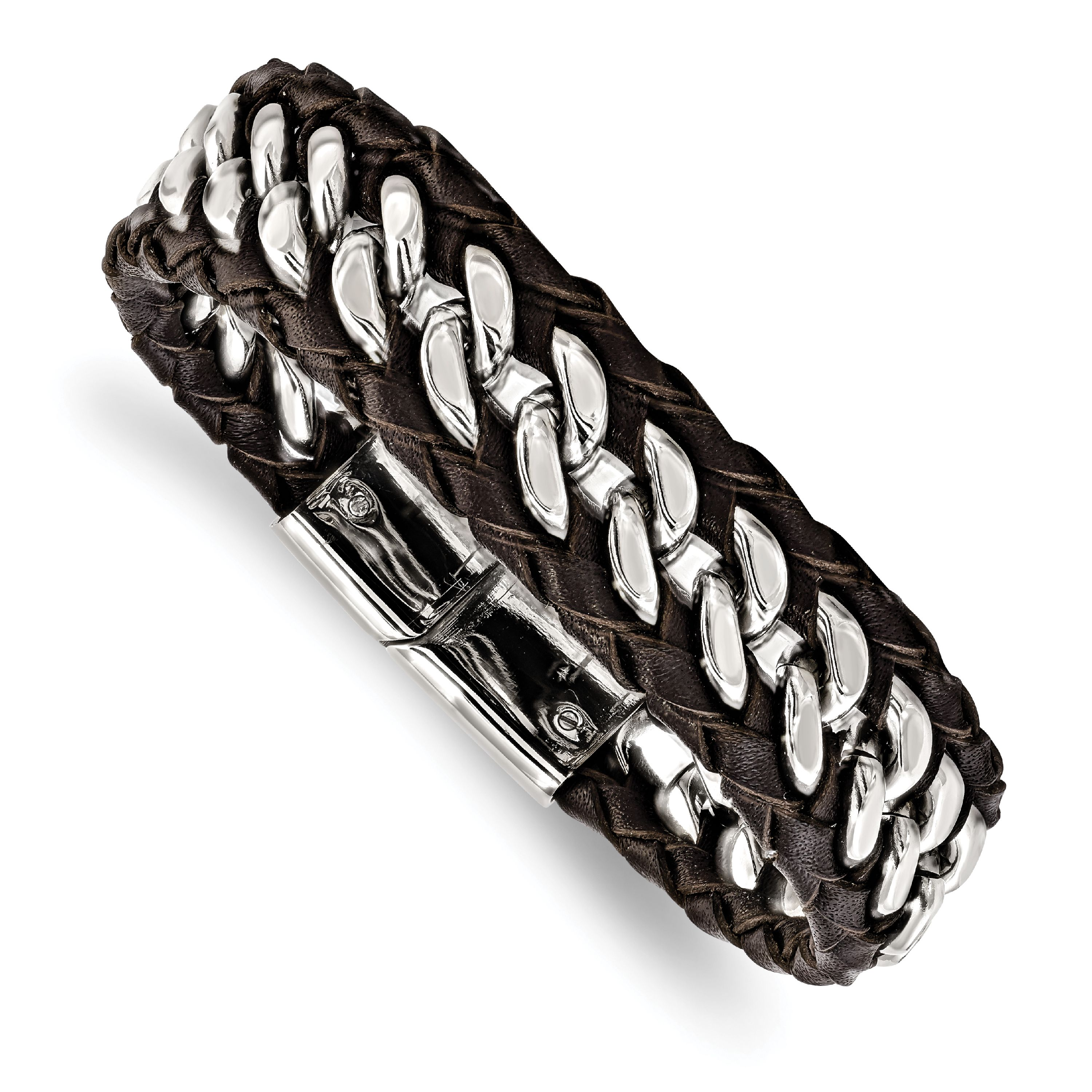 Stainless Steel Polished Brown Leather Bracelet 8.5in - image 2 of 2